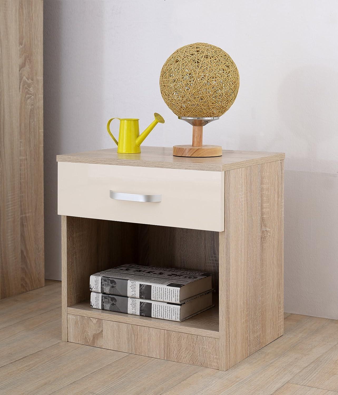 4 Drawer Chest Bedside Cabinet Includes Wardrobe AFN Home Gladini XL High Gloss 3 Door 3 Piece Trio Bedroom Furniture Set Black