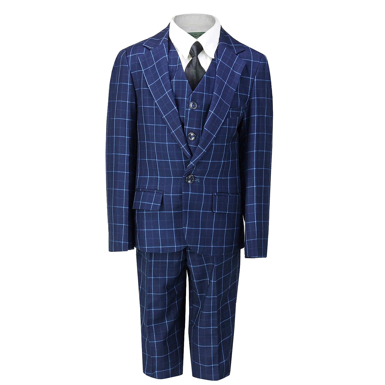Boys Kids Children/'s 3 Piece Suit Retro Blue on Black Bold Check Smart Formal Wedding