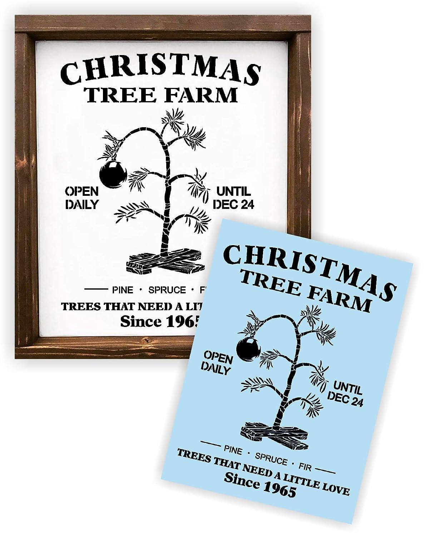 クリスマスツリー チャーリーブラウン ステンシル 塗装木製看板 再利用可能 厚手   B07GZ48SF8
