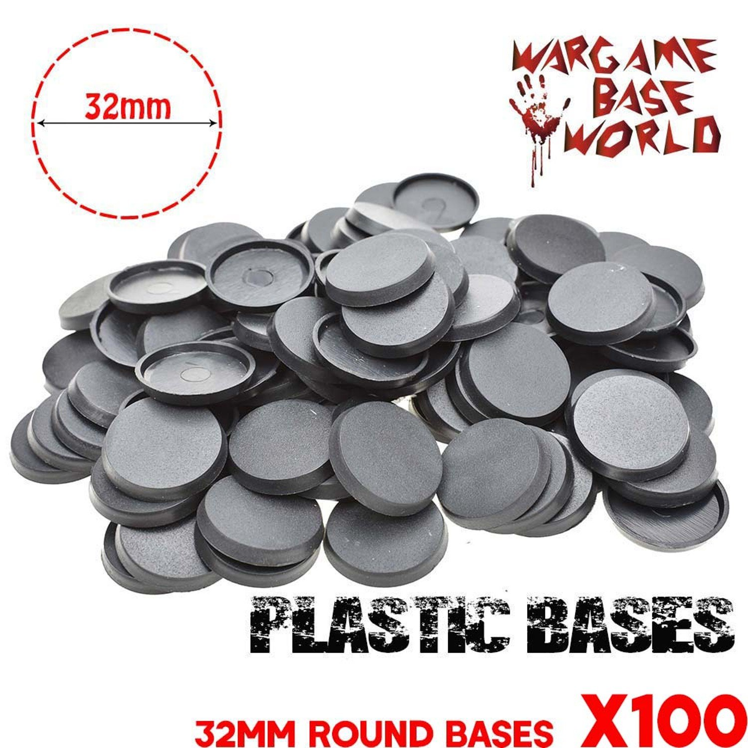 32mm Round Plastic Bases for Gaming Miniatures and Table Games