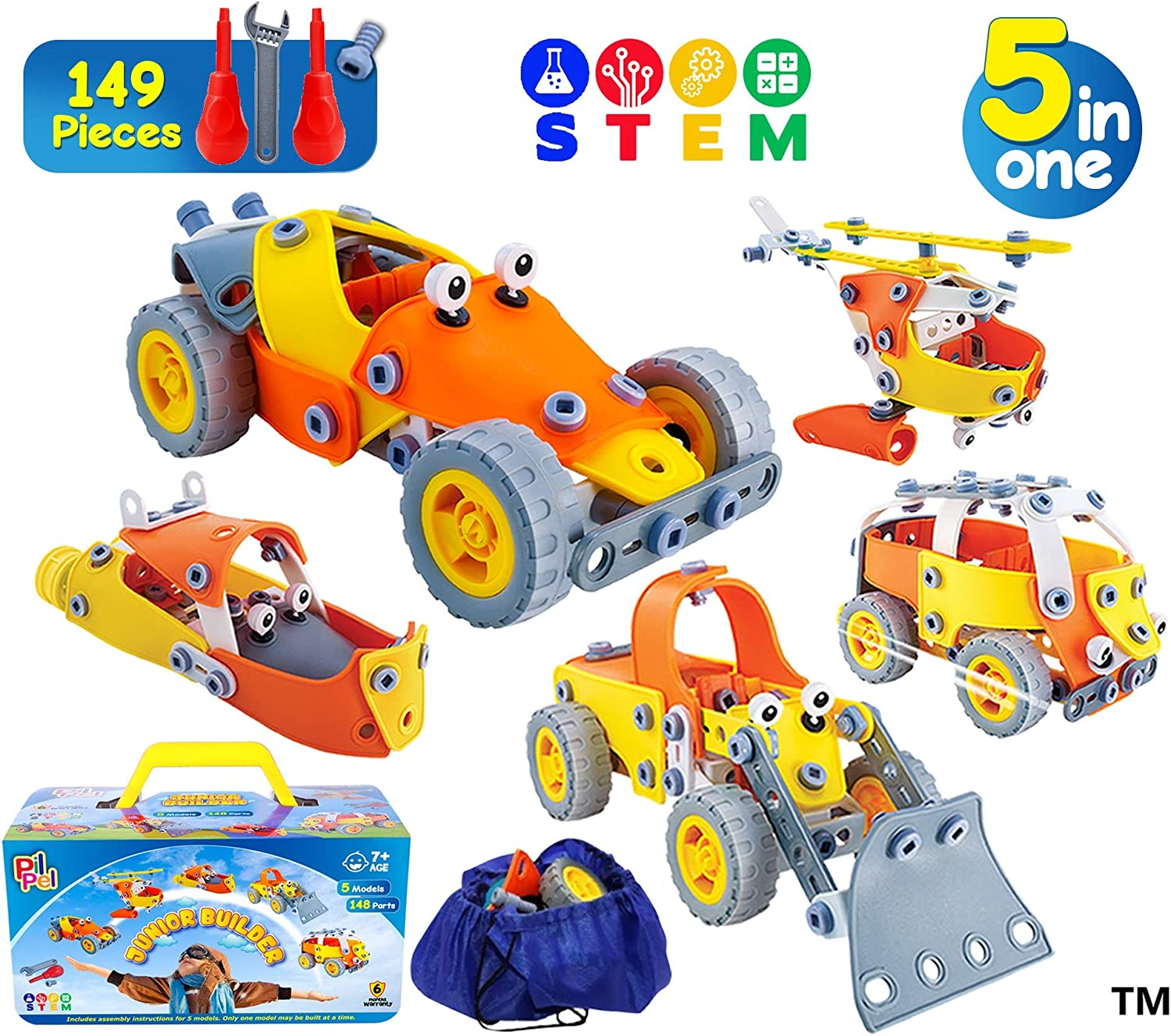 PilPel Educational Creative Stem Building Toy Set for Boys and Girls Age 7 8 9 10 148 Pcs 5in1 Erector Kids Stem Kit Build and Play Vehicles Models Stem Activities- in A Storage Gift Box