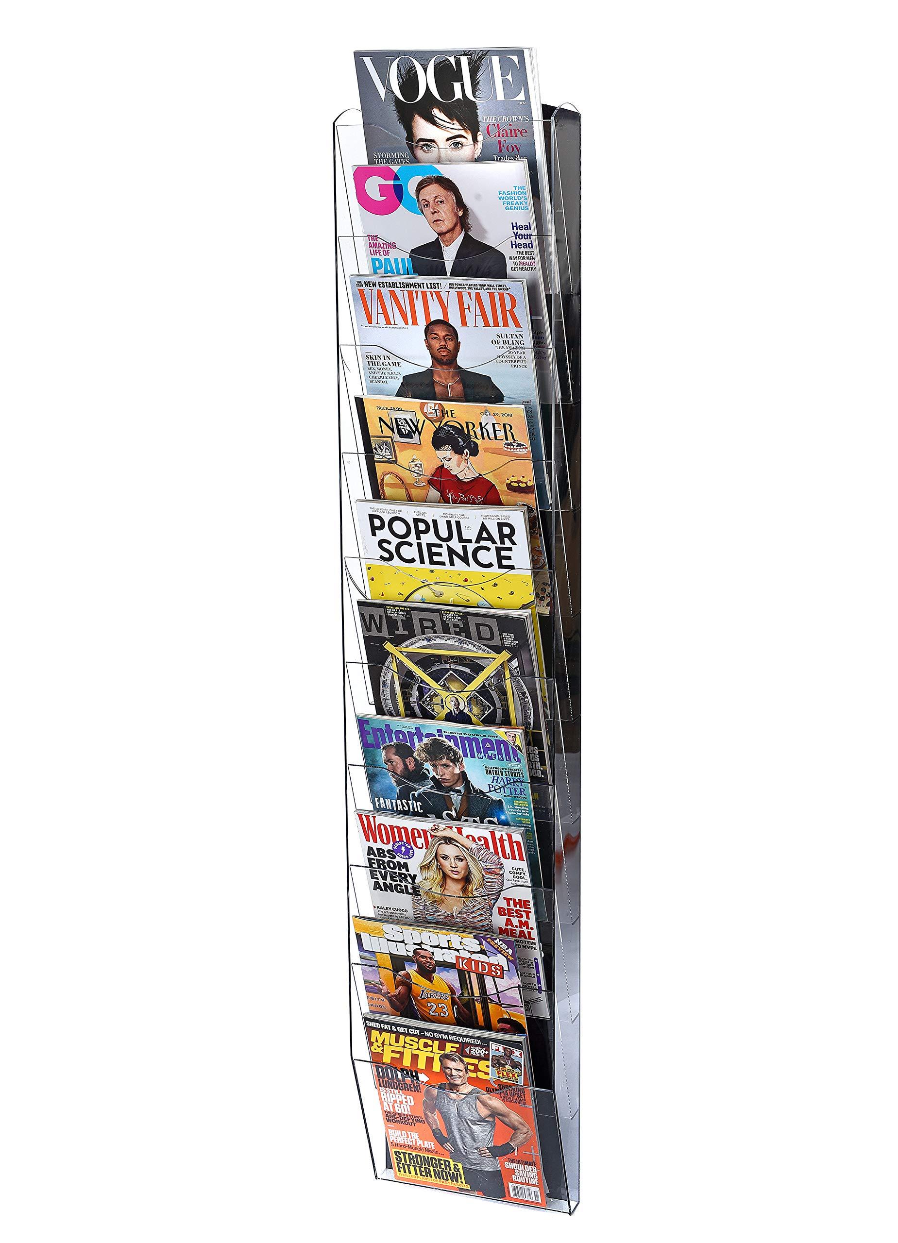 AdirOffice Hanging Magazine Rack with Clear Acrylic Adjustable Pockets (51'' X 10'', Black)
