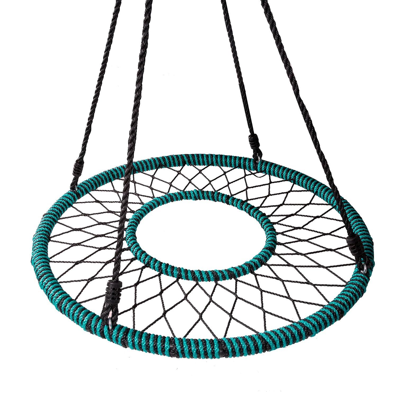 (プレイプラトゥーン) Play Platoon Spider Web ツリースイング タイヤスイングスタイルのブランコ 40インチまたは24インチを選択 B07NP9GX1V 40 Inch Web Swing With Opening & Tree Straps