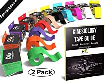 Physix Gear Sport Waterproof Kinesiology Tape 16ft Uncut Roll with 82pg EGuide - Ktapes Kinesiology Tape