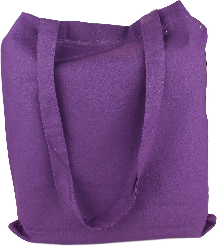 2Store24 Sac en Coton avec poign/ées Longues in Violet 38x42cm