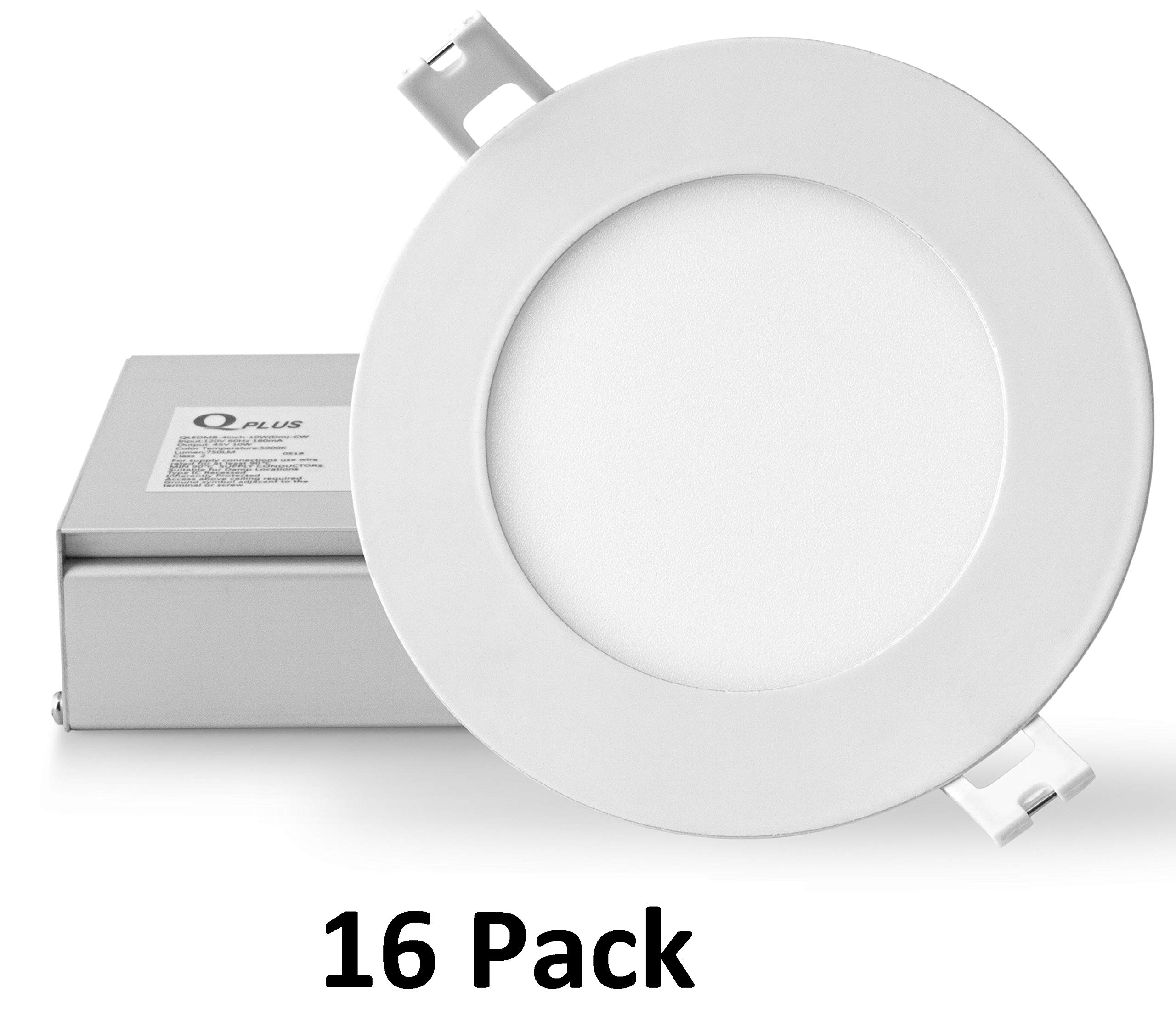 QPLUS 4 Inch 10W LED Recessed Lighting (3000K Warm White, 16 Pack), Ultra Thin Slim Wafer Low Profile Ceiling Light, Canless DownLight Kit with Junction Box, Dimmable, 750 lm, Energy Star + ETL Listed