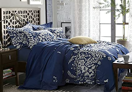 Navy Blue Duvet Cover Set, Gray Grey Floral Flowers Tree Leaves Pattern  Printed, Soft