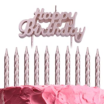 Amazon.com Get Fresh Rose Gold Birthday Cake Candles Set
