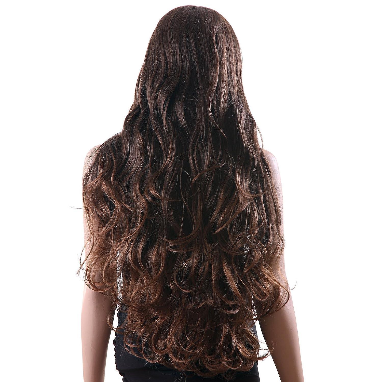 SONGMICS Perruque marron foncé de 68 cm Avec raie au milieu Longue Bouclée Cheveaux synthétique Perruque femme WWG03BC