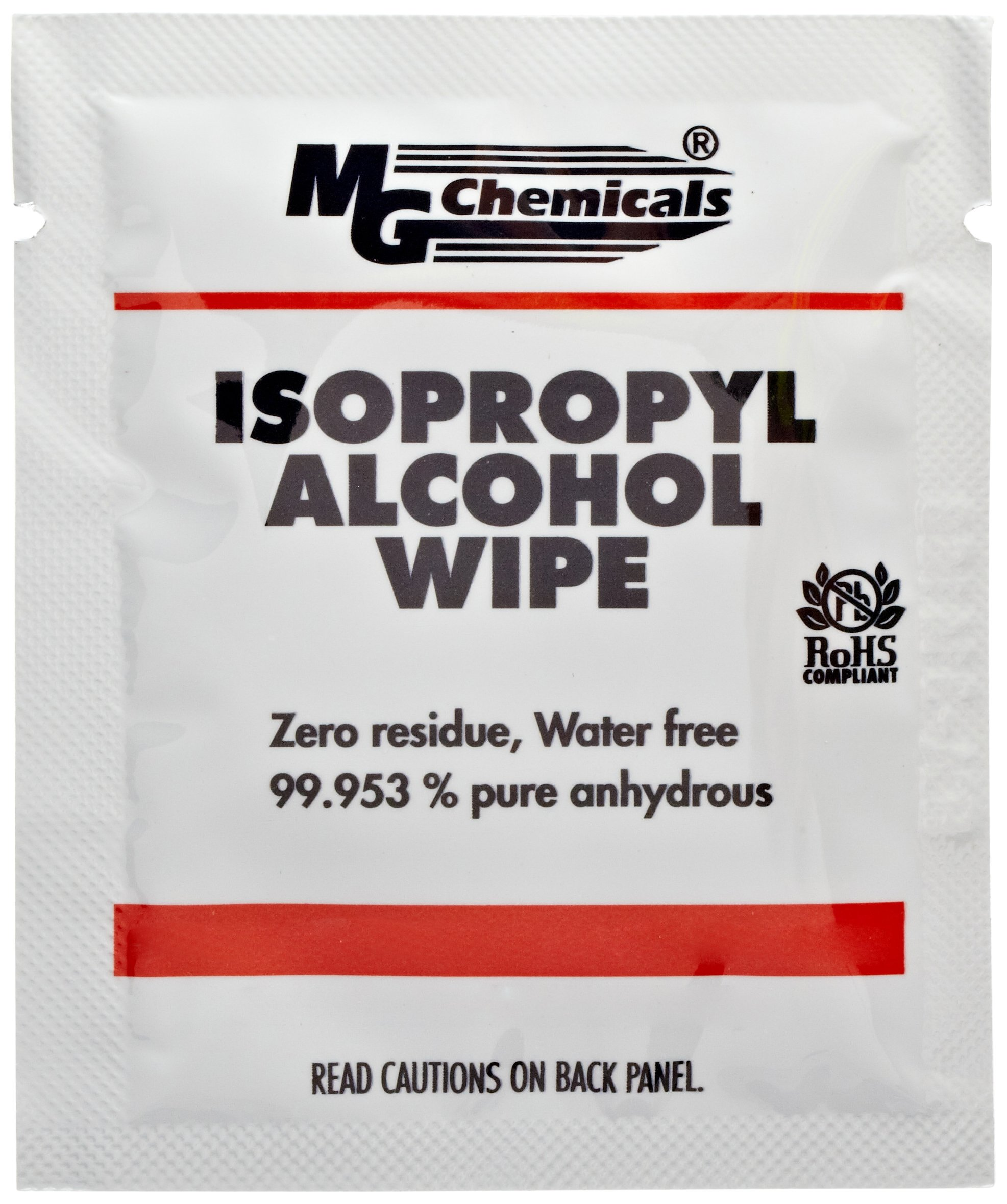 MG Chemicals 99.9% Isopropyl Alcohol Wipes, 6'' Length x 5'' Width (Bag of 50) by MG Chemicals