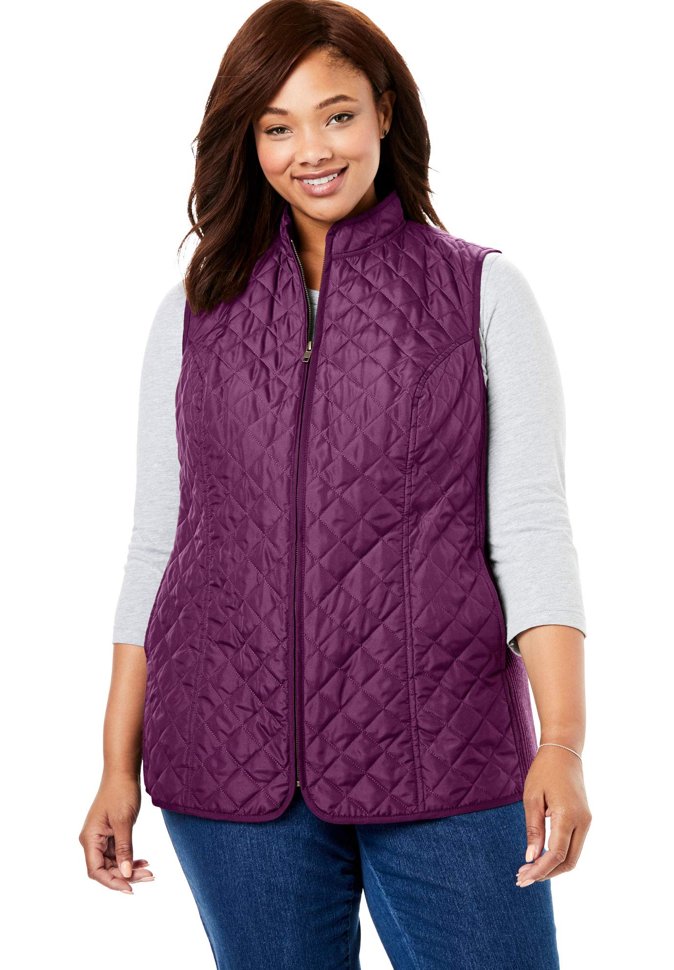 Woman Within Women's Plus Size Zip-Front Quilted Vest - Dark Berry, 4X by Woman Within