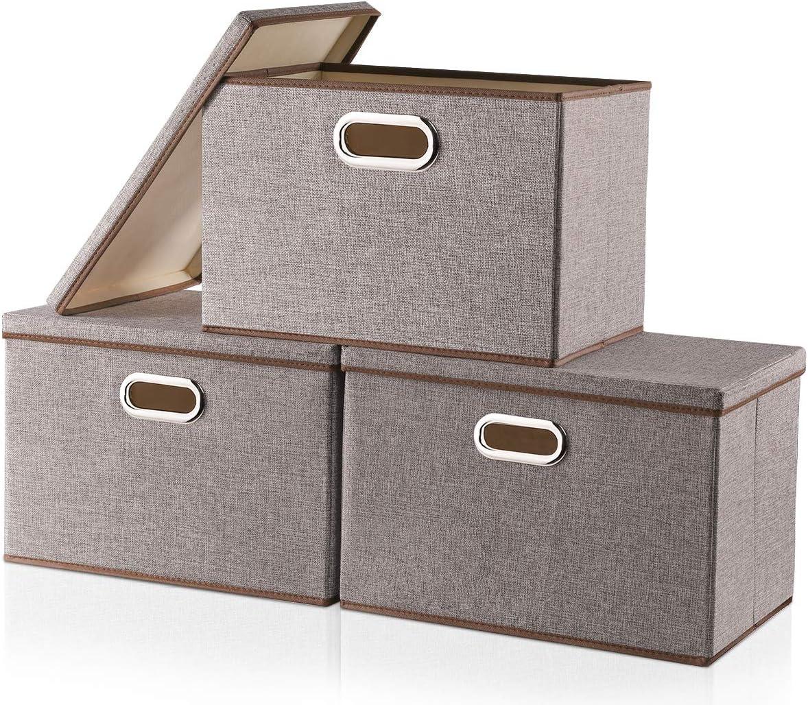 Cajas de almacenamiento grandes con tapa [3 unidades] tela de lino ...