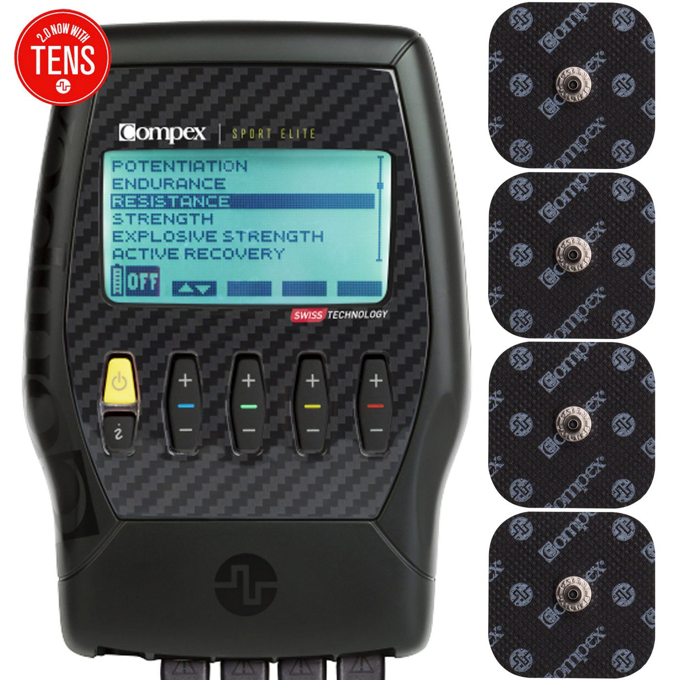 Compex Sport Elite 2.0 Muscle Stimulator with TENS Bundle Kit: Muscle Stim, 12 Snap Electrodes, 10 Programs, Lead Wires, Battery, Case / 4 strength, 2 warm-up, 3 recovery, 1 TENS by Compex