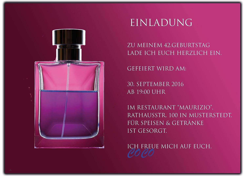Einladungskarten zum zum zum Geburtstag als Parfum Einladungskarte Einladung-en 40 Stück B01EXGQ6ZO | Feinbearbeitung  | Sonderangebot  | Billig ideal  ee6208