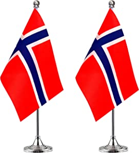 WEITBF Norway Desk Flag Small Mini Norwegian Office Table Flag with Stand Base,Norwegian Themed Party Decorations Celebration Event,2 Pack