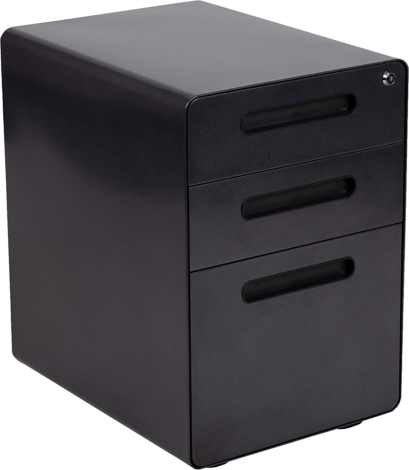 Flash Furniture Ergonomic 3-Drawer Mobile Locking Filing Cabinet with Anti-Tilt Mechanism and Hanging Drawer for Legal & Letter Files, Black