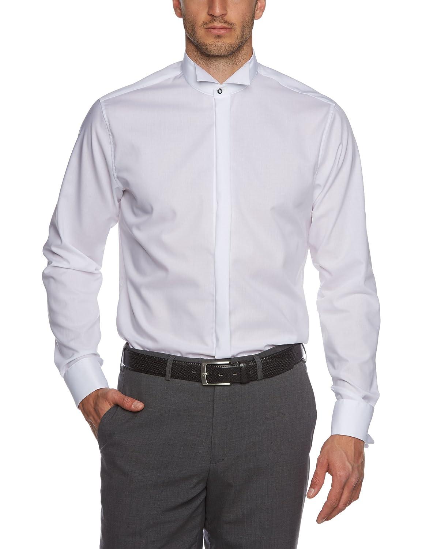 Seidensticker Herren Smoking Hemd Tailored Langarm mit Kläppchen-Kragen Umschlagmanschette ohne Manschettenknöpfe Uni bügelfrei 021008