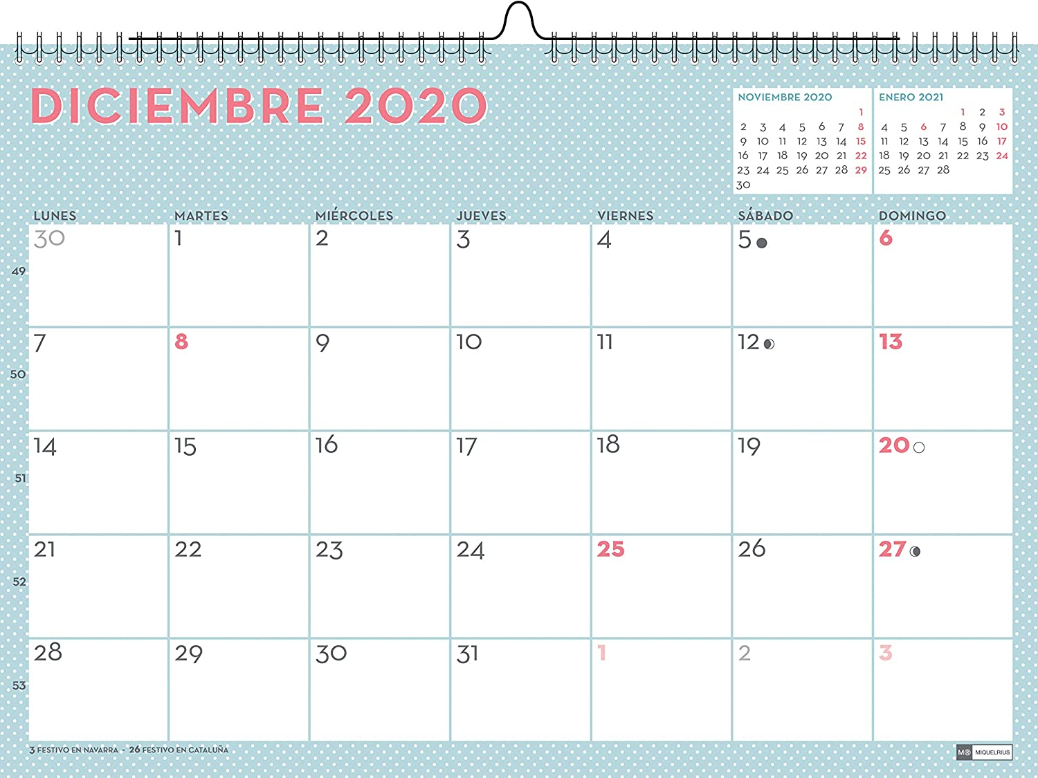 Miquelrius 28051 - Calendario de Pared A3 Lovely DIY 2020 Castellano