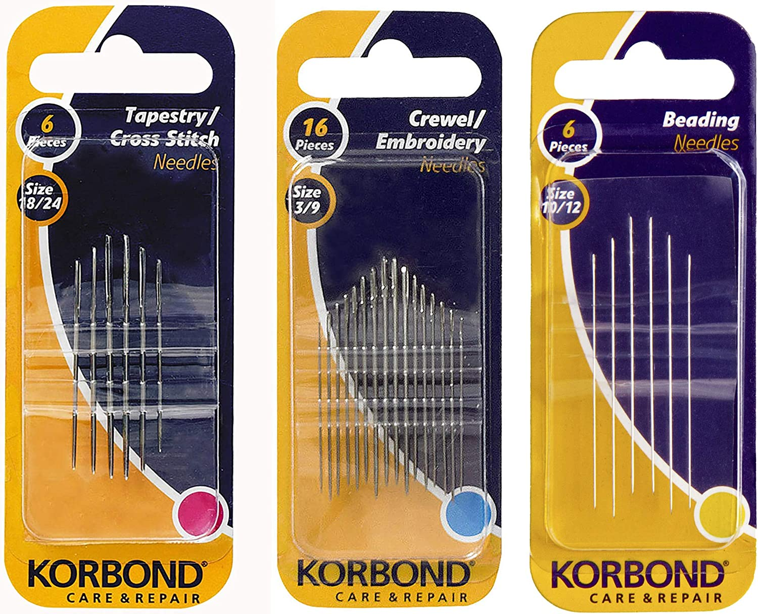 Medium Korbond 6-Piece Tapestry//Cross Stitch Needles//Beading Needles and 16-Piece Crewel//Embroidery Needles /& Creations 10inch Wooden Embroidery Hoop