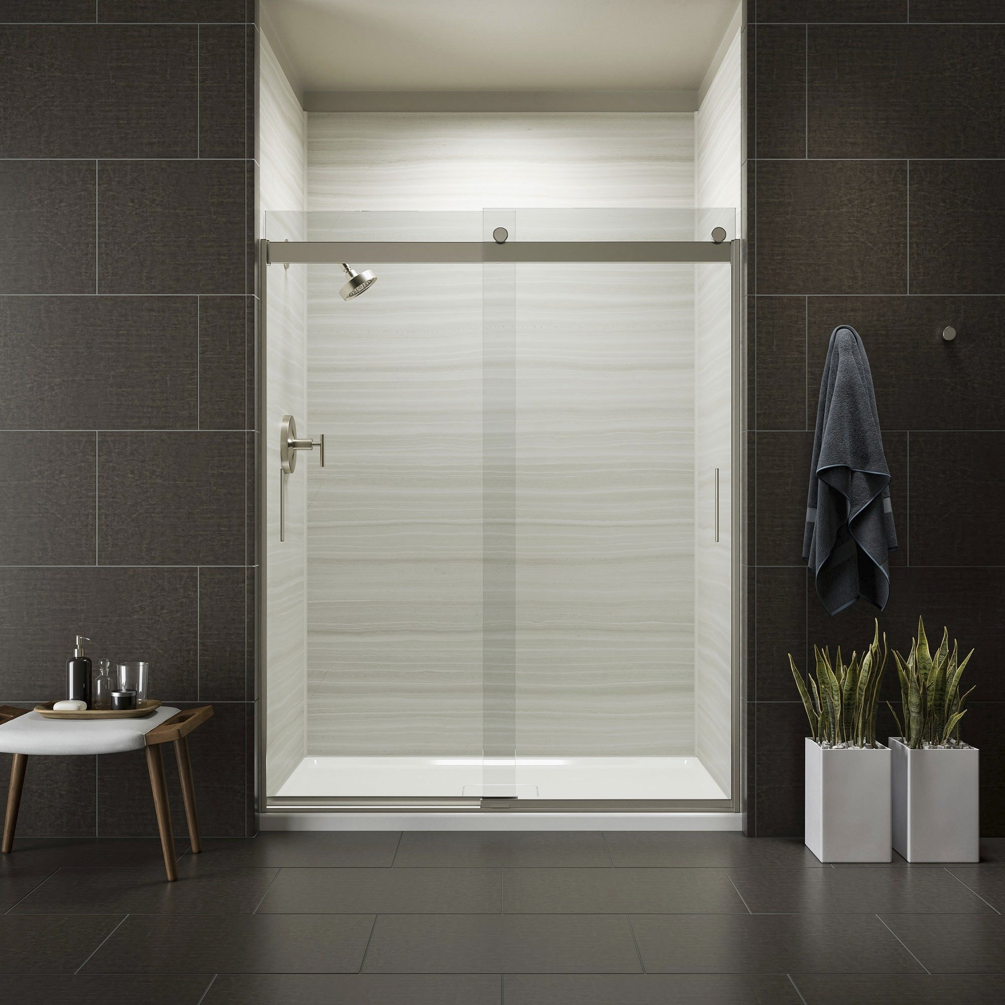 KOHLER K-706009-L-MX Levity  Bypass Shower Door with Handle and 1/4-Inch  Crystal Clear Glass in Matte Nickel