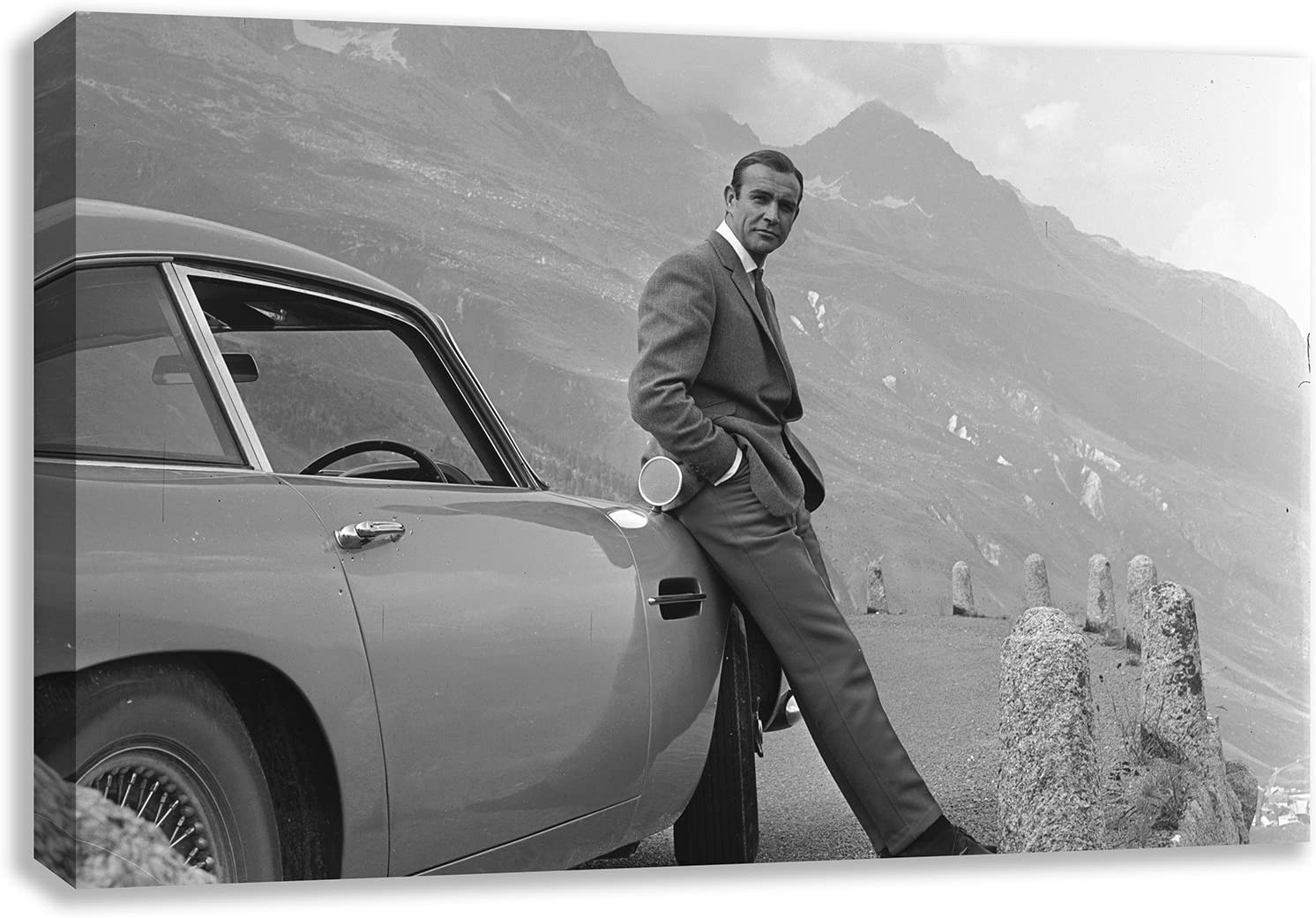 Amazon Com Sean Connery 007 Aston Martin Db5 James Bond Canvas Wall Art 44 X 26 Posters Prints