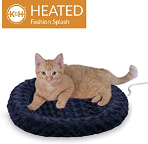 K&H Pet Products Thermo-Kitty Fashion Splash Heated Cat Bed With Orthopedic Foam Base and Over-Stuffed Bolsters, Machine Washable, Multiple Sizes, Multiple Colors
