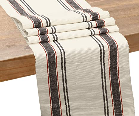 """New Shabby Chic Farmhouse Country NAVY BLUE TICKING Striped Table Runner 72/"""""""