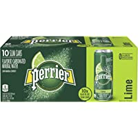 Perrier Sparkling Mineral Water With Natural Lime Flavor Slim Can, 10 x 250 ml