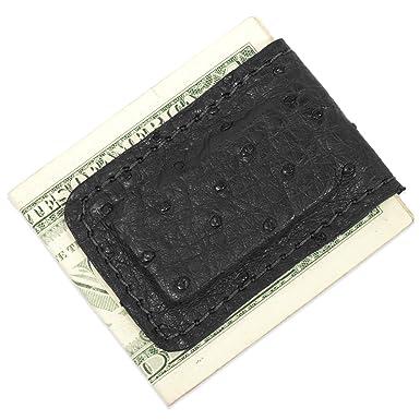 13903ba01506f Genuine Ostrich Leather Magnetic Money Cash Clip Handmade (Black) at ...