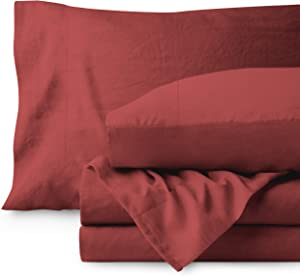 Bare Home Sandwashed Queen Sheet Set - Premium 1800 Ultra-Soft Microfiber Bed Sheets (Queen, Sandwashed Rosewood)