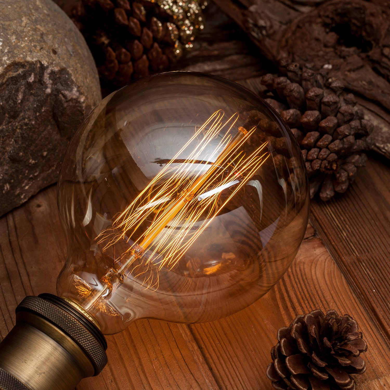 Ltd Asgens Edison Bulb 2x G40//G125 120V 40Watt 2200K E26 Vintage Decorative Bulb Retro old fashioned Dimmable Best Source Co