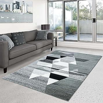 CC Teppich Play Flachflor Modernes Design Mit Dreiecken Grau Grün Wohnzimmer,  Größe In Cm:
