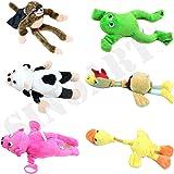 SinoArt 6pcs Set Slingshot Flingshot Animal Toy for Kids Screaming Flying Sock Plush Animals Monkey Chicken Pig Cow Duck Frog