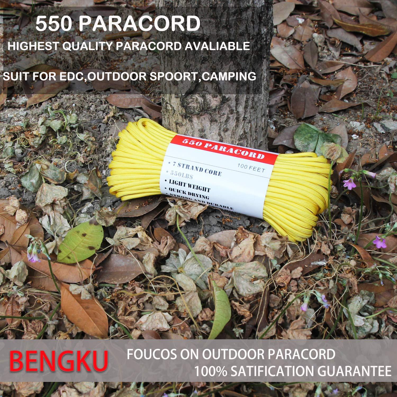 BENGKU Outdoor Survival Mil-SPEC 550lb Paracord/Parachute Cord(MIl-C-5040-H),100Feet,100% Nylon. (Yellow, 100.00) by BENGKU (Image #3)