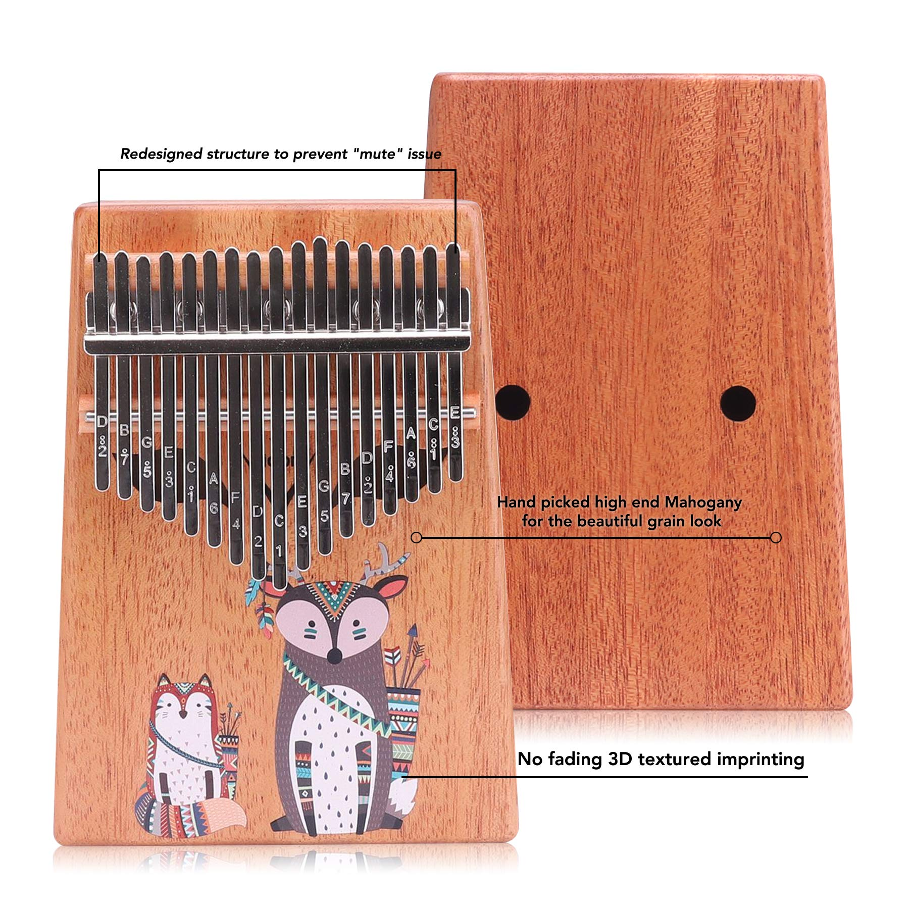 VI VICTORY 17 Key 3D Painted Kalimba African Thumb Piano Finger Percussion Keyboard Music Instruments - Fox
