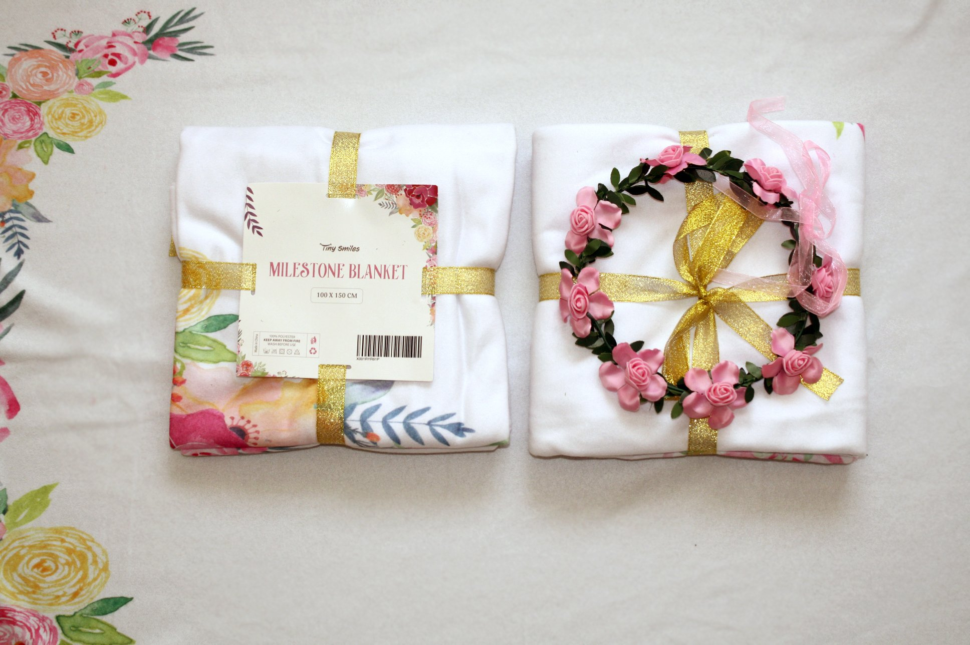 Baby Monthly Milestone Blanket Large 60''x40'' | Bonus Floral Wreath | Soft Photography Background Blanket | Newborn Girls or Boys Photo Prop | Best Baby Shower Gift for New Mom | Months Watch Me Grow by Tiny Smiles (Image #6)