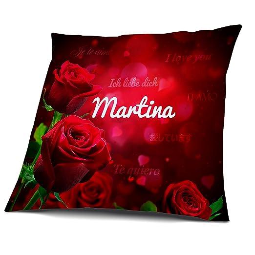Cojín con relleno, diseño de rosas con nombre Martina, zona ...