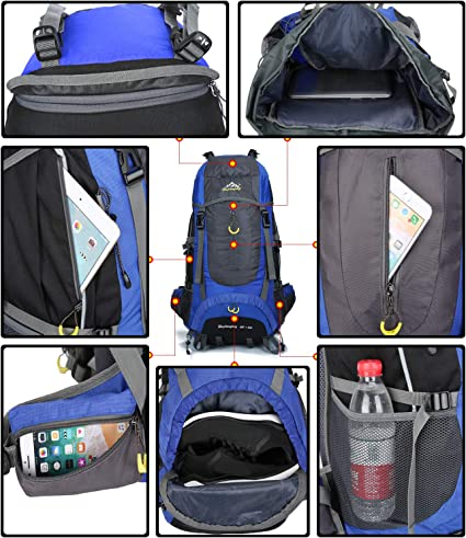 Hwjianfeng 70L Trekking-Rucks/äcke f/ür Berg Multifunktionsger/ät Notebook Wasserdicht Nylon Rucks/äcke Camping-Excursion f/ür Reisen Unisex
