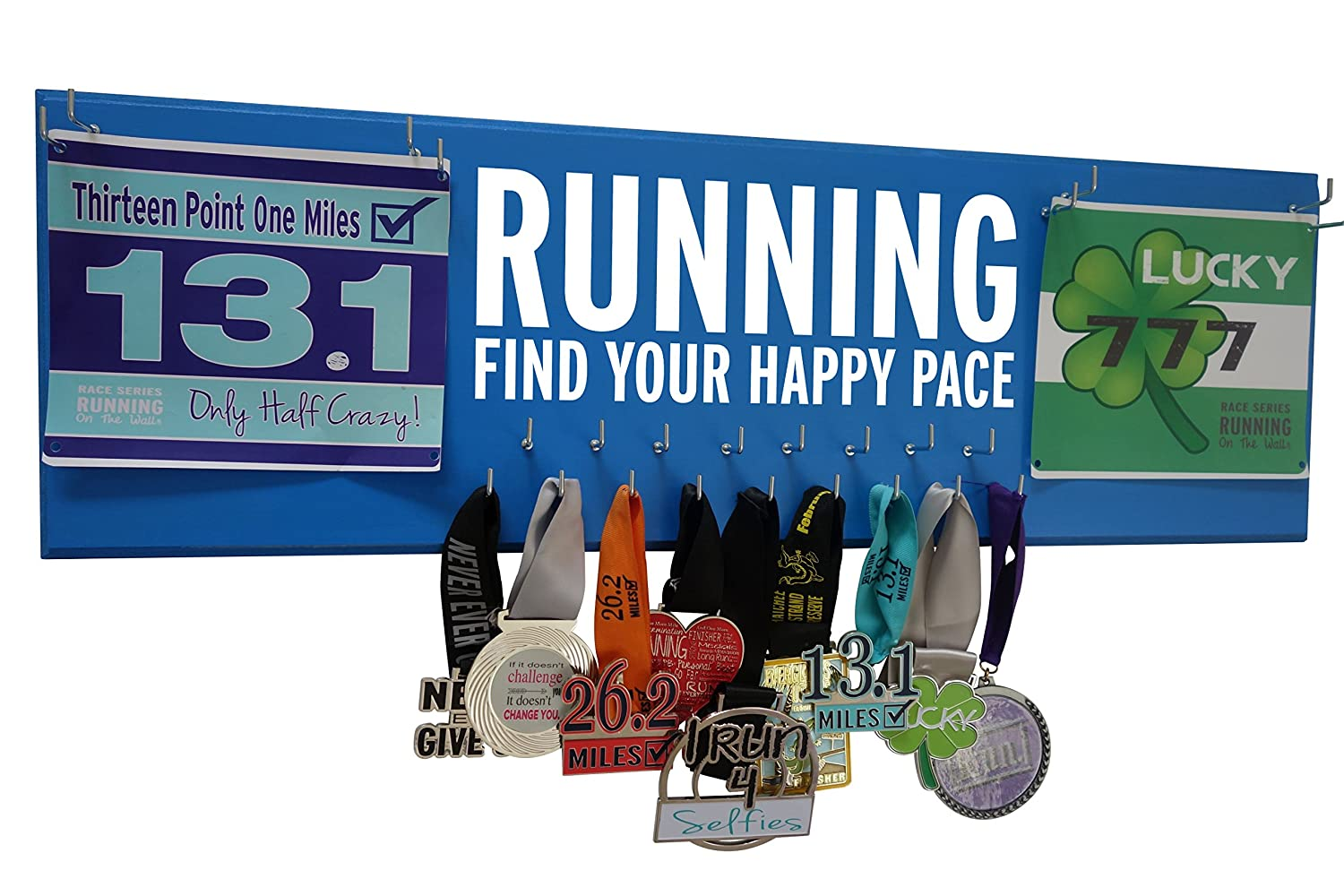 Amazon.com : RunningontheWall Medal Hanger Medal Display Rack Race Bibs Running - FIND Your Happy PACE Double Running Bib Design : Sports & Outdoors