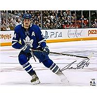 "$118 » Auston Matthews Toronto Maple Leafs Autographed 16"" x 20"" Blue Jersey Stopping Photograph - Fanatics Authentic Certified"