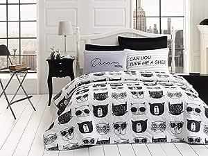 طقم ملاءة سرير مزدوجة مبطنة من انلورا، اسود/أبيض، مزدوج، 3 قطع