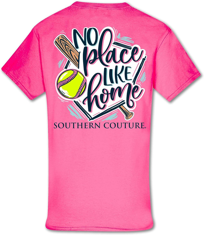 No Place Like Home Softball Safety Pink Cotton Fabric Fashion T-Shirt