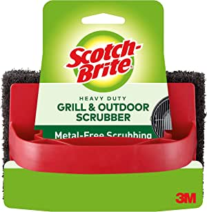 3M 7721 Scotch-Brite Heavy Duty Outdoor Scrubber, Ideal for Concrete, Patio Bricks, BBQ Tools and Charcoal and Gas Grills, Black