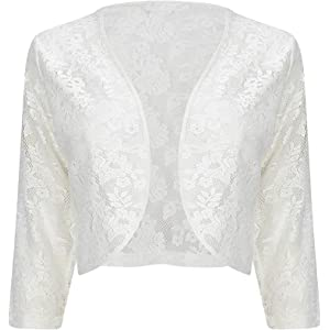 Ivory Lace Short Sleeve Bolero Shrug Sizes 22