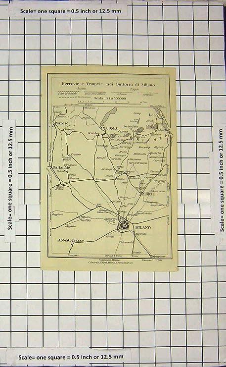 Old Antique Print Map Italy Street Plan Milano Como Monza Varese