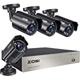 ZOSI 8CH 1080P Security Camera System Outdoor,H.265+ 8-Channel HD-TVI 5MP Lite Video DVR recorder with 4x HD 1920TVL 1080P We