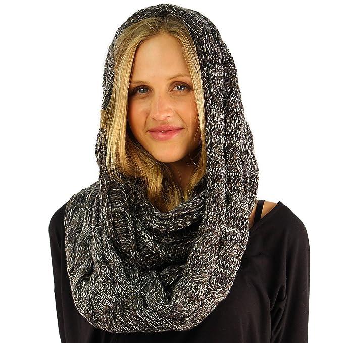 Cc Quad Soft Chunky Warm Pullover Knit Long Infinity Hood Cowl Loop