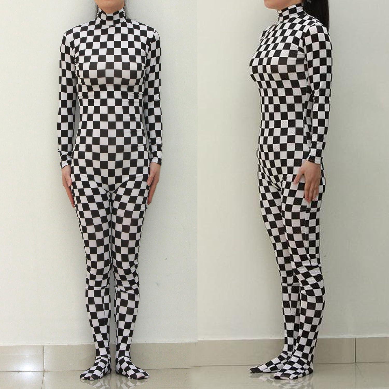 Hohe elastische Körper Strumpfhose schwarz / weiß kariert einteilige Unterwäsche / / Bühnenoutfits