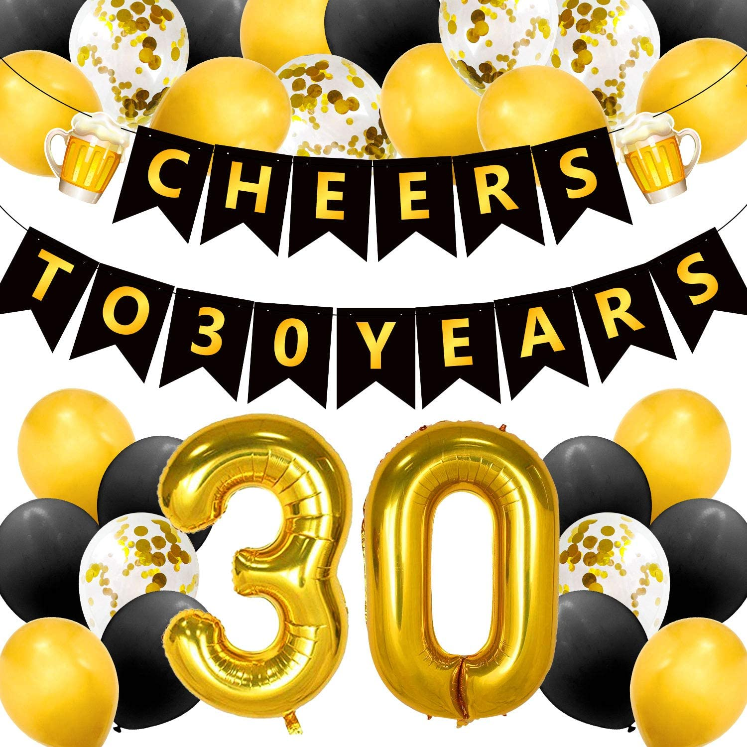 Cheers to 30 Years Party Decorations 30s Anniversary Banner 40 inch 30 Number Gold Foil Balloons Black Gold Confetti Latex Balloons for Thirty Birthday or Wedding Party Supplies