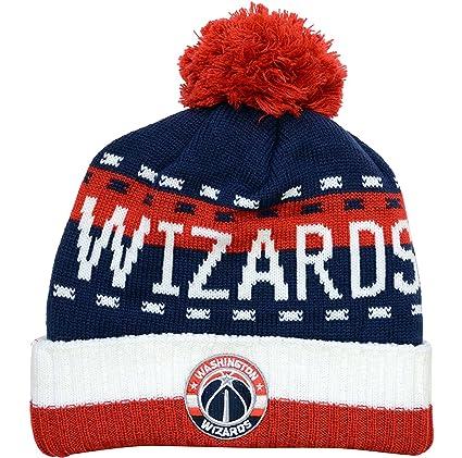 Amazon.com   adidas Washington Wizards Cuffed Knit Hat with Pom ... 14acb0f8b92